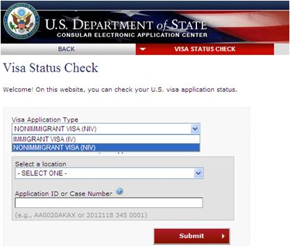 online nonimmigrant visa application ds 160 check status