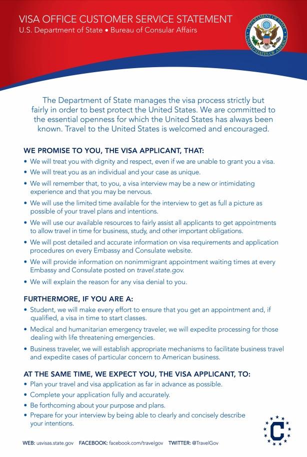 Customer Service Statement – U S  Embassy Seoul Visas _미국